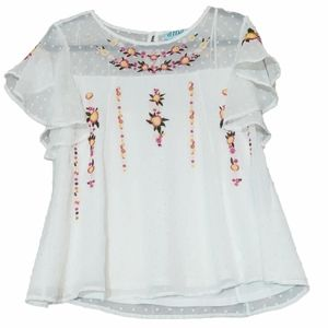 Francesca's Embroidered White Sheer Flouncy Blouse